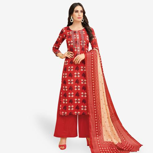 Magnetic Red Colored Party Wear Printed Chanderi Silk Palazzo Suit