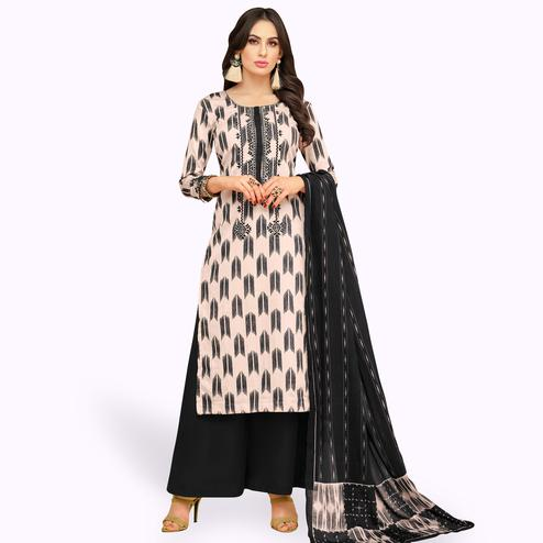 Hypnotic Cream-Black Colored Party Wear Printed Chanderi Silk Palazzo Suit