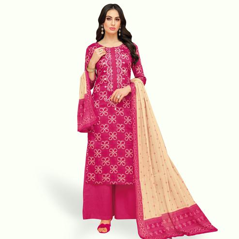 Flattering Pink Colored Party Wear Printed Chanderi Silk Palazzo Suit