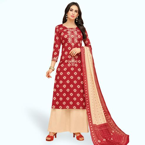 Excellent Red Colored Party Wear Printed Chanderi Silk Palazzo Suit
