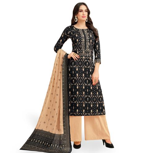 Preferable Black Colored Party Wear Printed Chanderi Silk Palazzo Suit