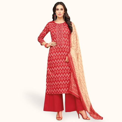 Marvellous Red Colored Party Wear Printed Chanderi Silk Palazzo Suit