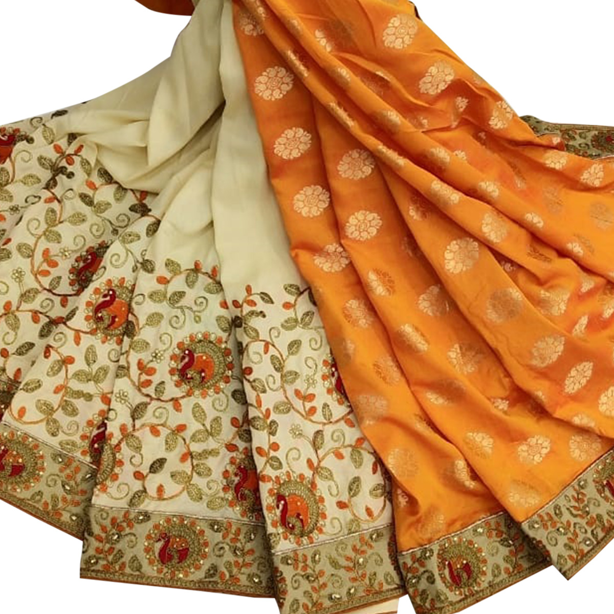 Glowing Off White - Orange Colored Party Wear Embroidered Art Silk Saree