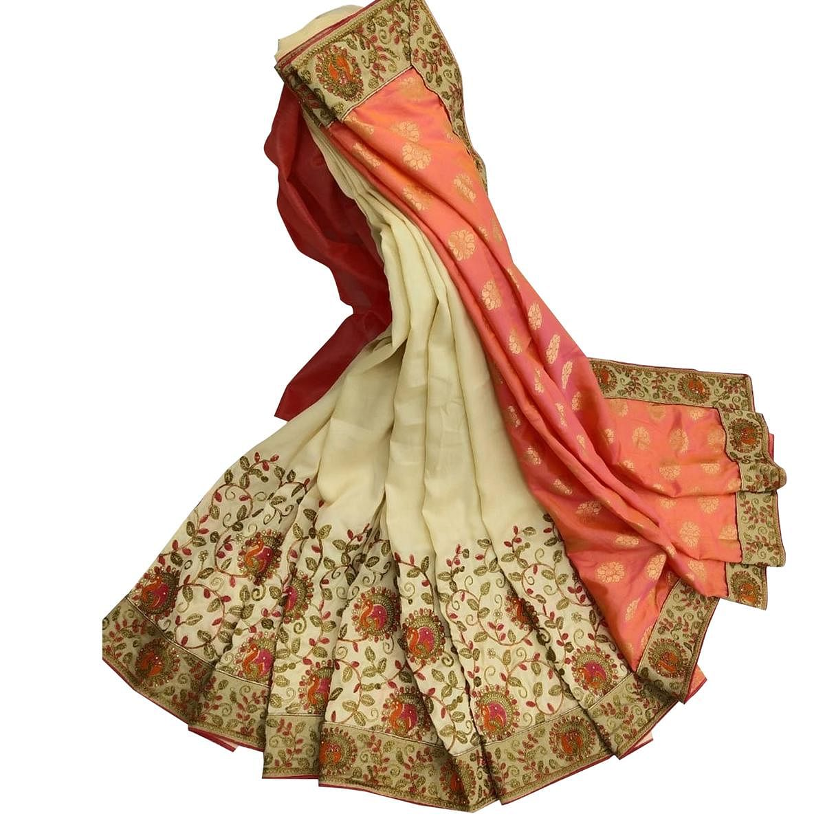 Exceptional Off White - Peach Colored Party Wear Embroidered Art Silk Saree