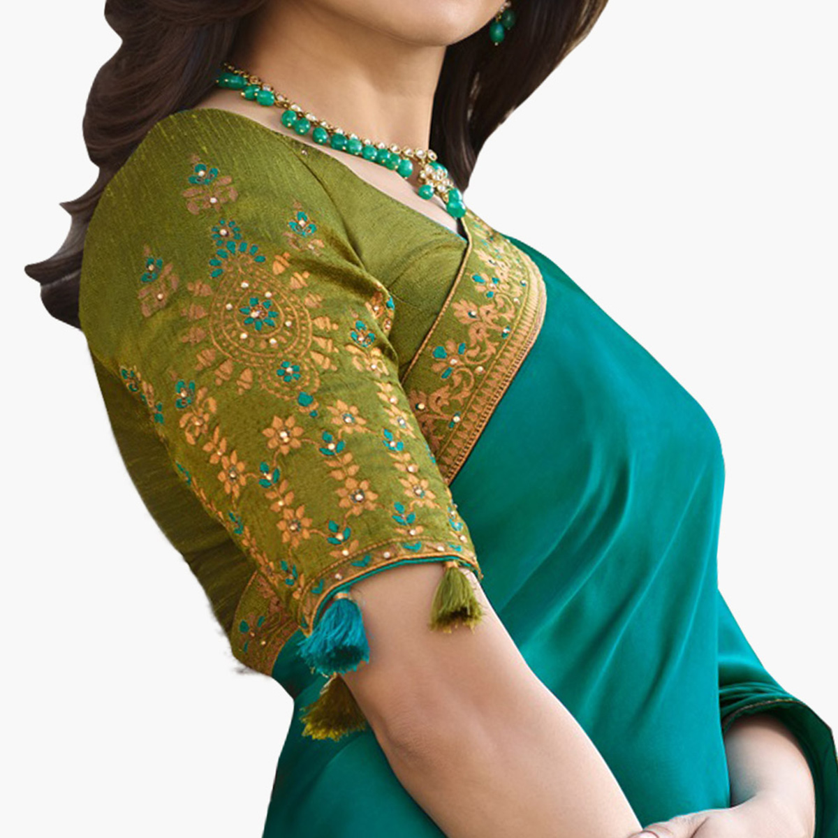 Radiant Teal Blue Colored Partywear Embroidered Silk Saree