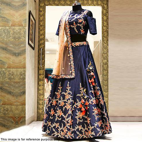 Sizzling Navy Blue Designer Embroidered Lehenga Choli