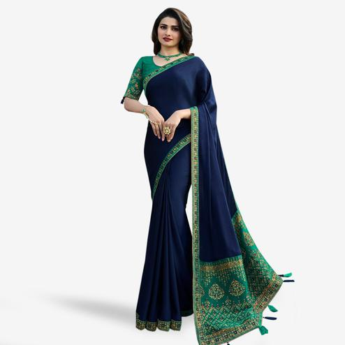 Glowing Navy Blue Colored Partywear Embroidered Silk Saree