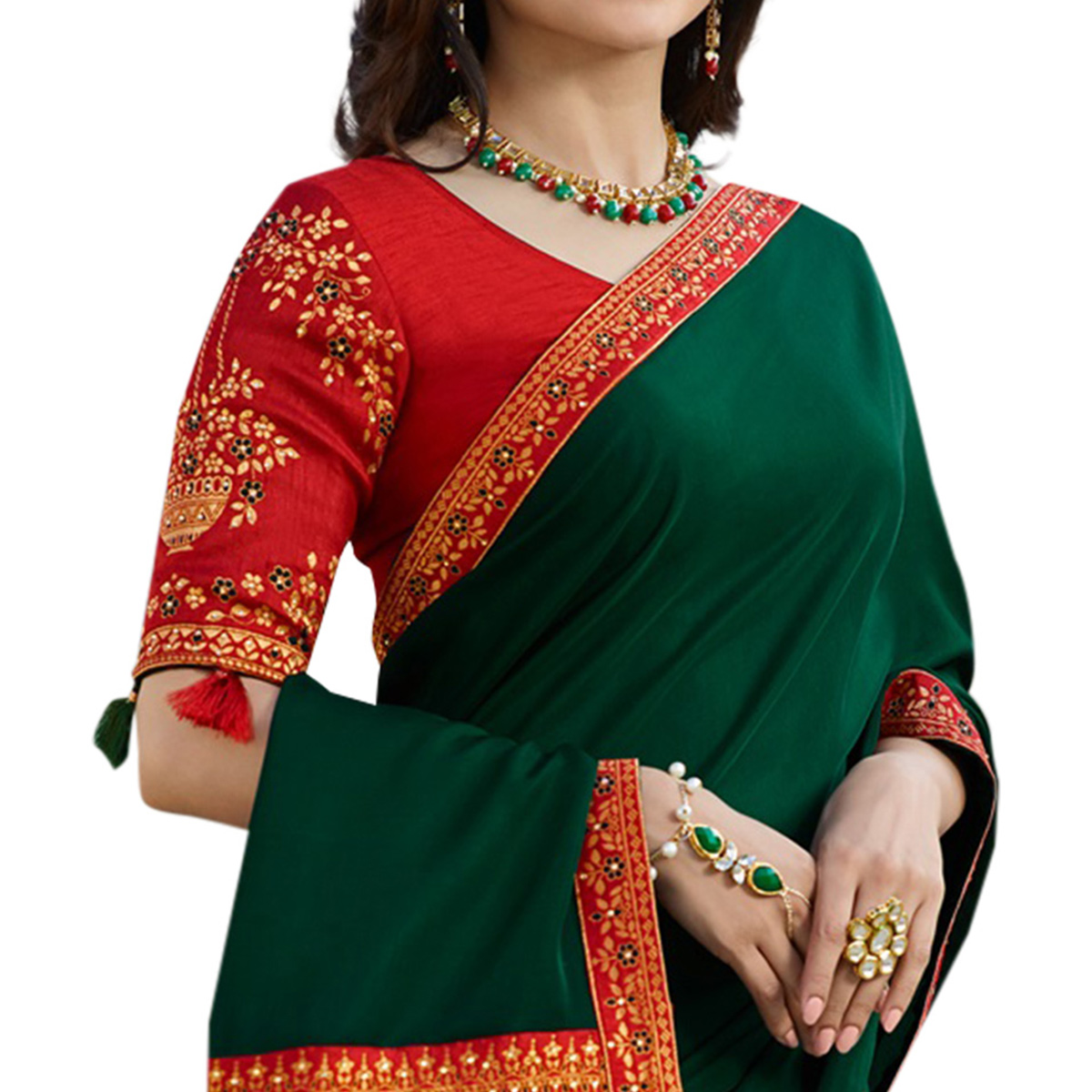 Gleaming Dark Green Colored Partywear Embroidered Silk Saree