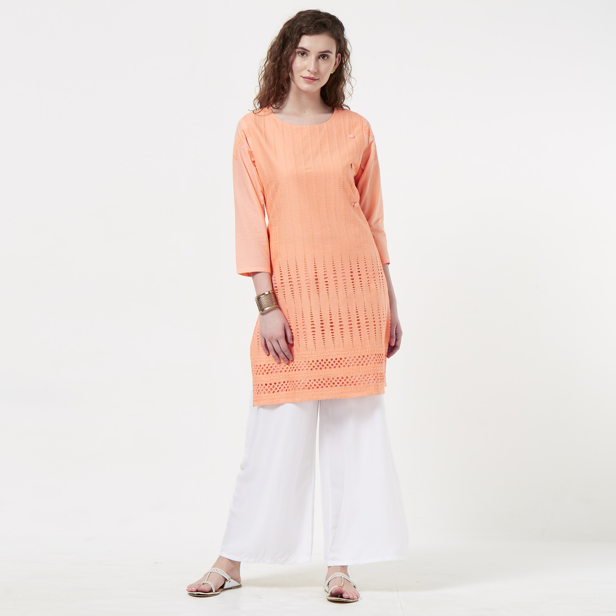Demanding Peach Colored Casual Wear Lucknowi Chikankari Cotton Kurti