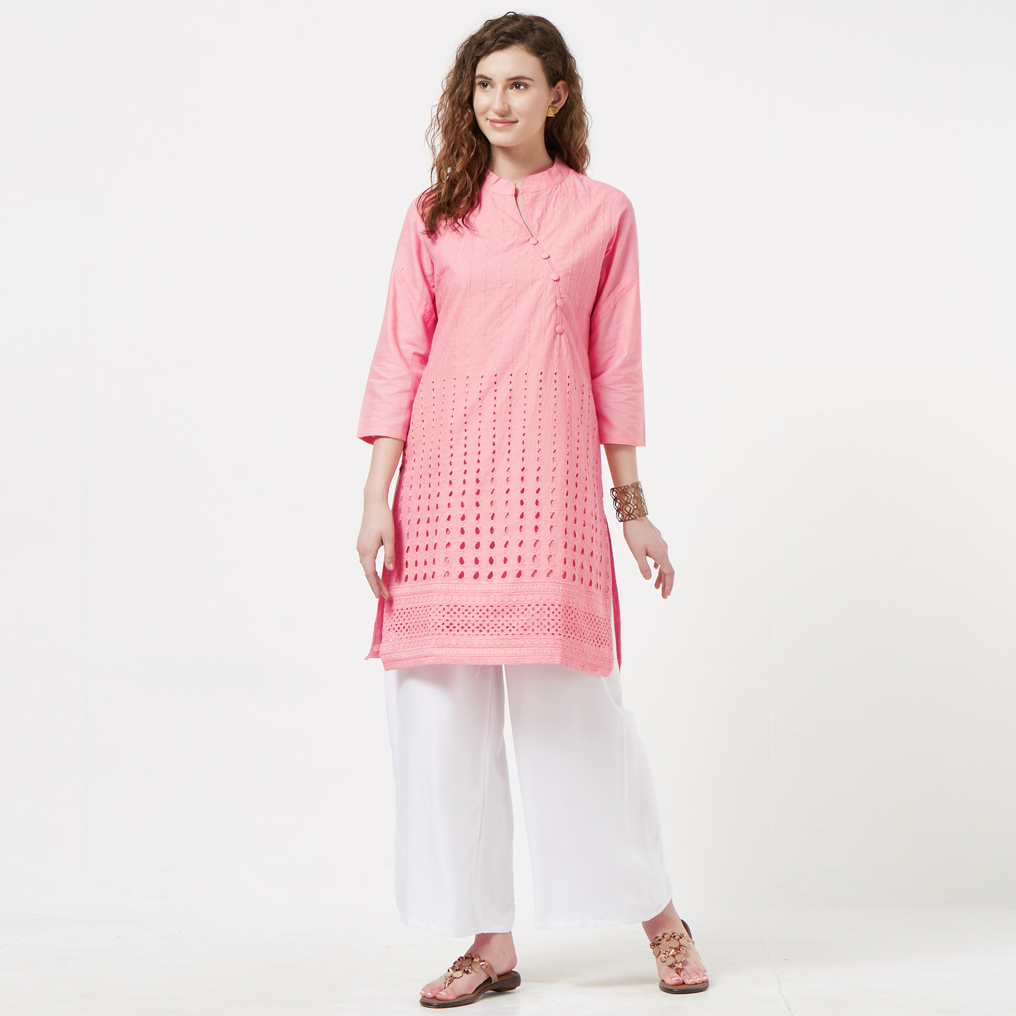 Attractive Pink Colored Casual Wear Lucknowi Chikankari Cotton Kurti