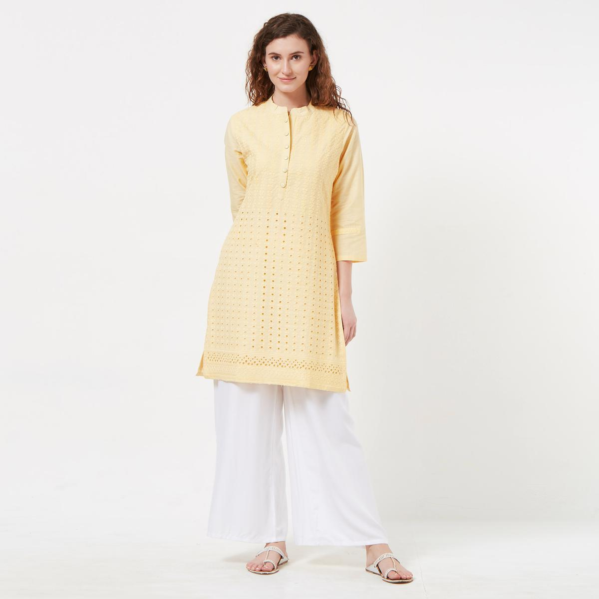 Desirable Light Yellow Colored Casual Wear Lucknowi Chikankari Cotton Kurti
