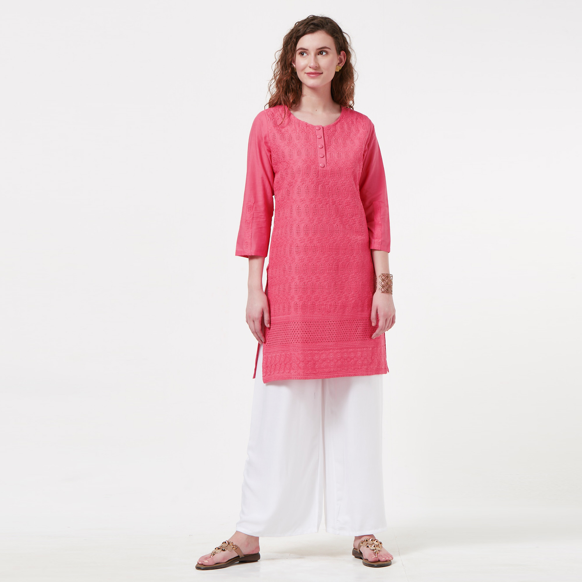 Jazzy Pink Colored Casual Wear Lucknowi Chikankari Cotton Kurti