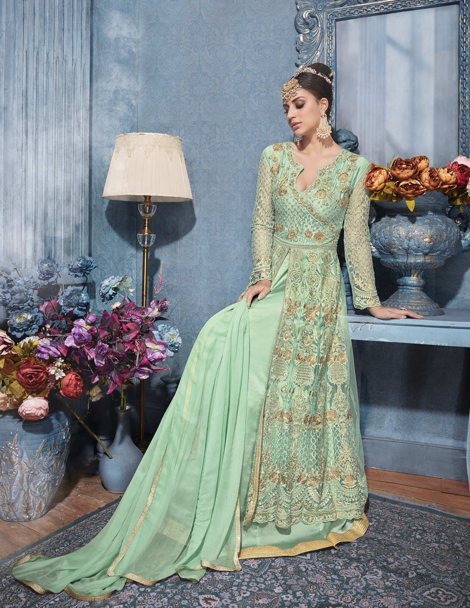 Gorgeous Green Designer Embroidered Net Suit