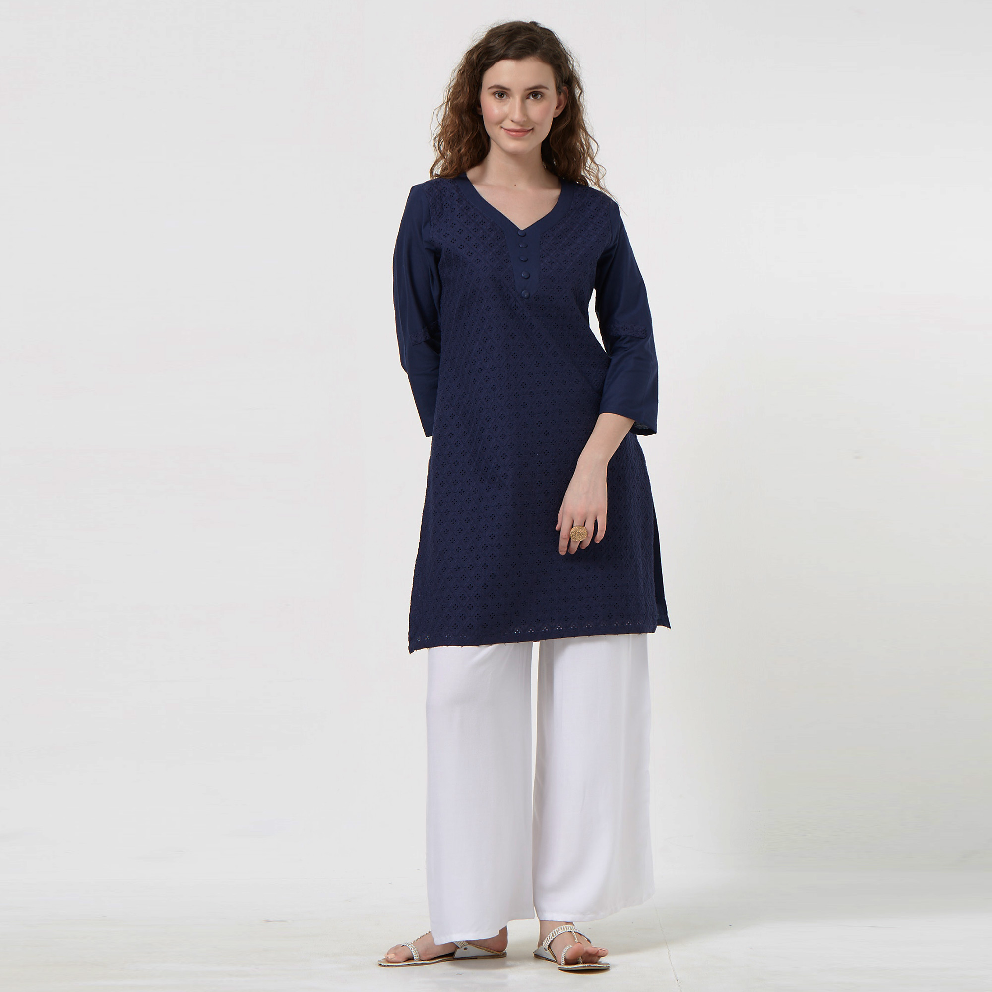 Fantastic Navy Blue Colored Casual Wear Lucknowi Chikankari Cotton Kurti