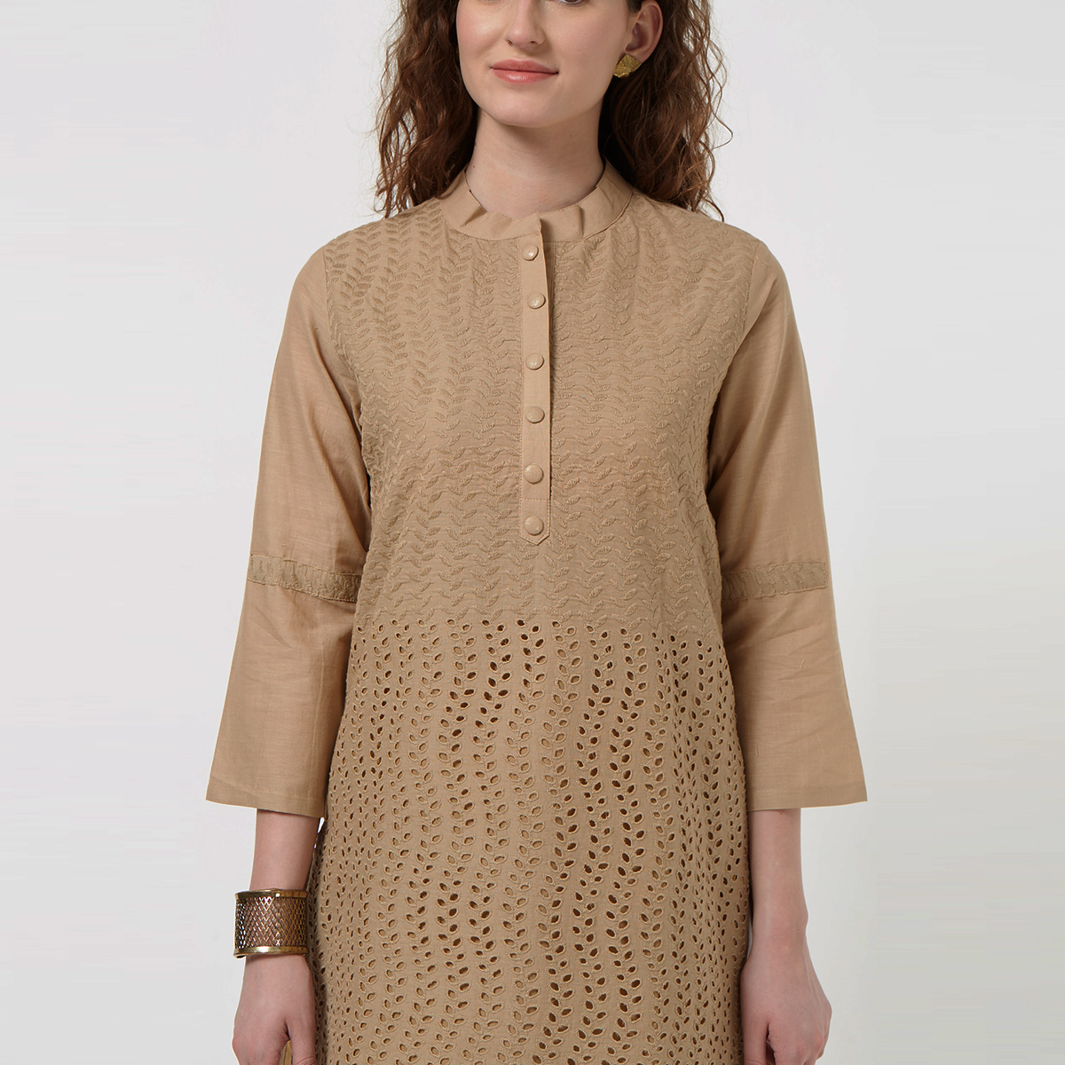 Trendy Dark Chiku Colored Casual Wear Lucknowi Chikankari Cotton Kurti