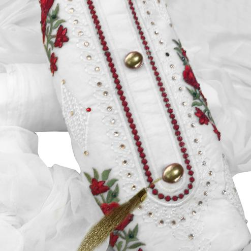 Alluring White Colored Partywear Embroidered Cotton Dress Material