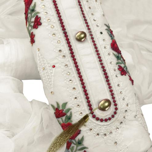 Alluring Off White Colored Partywear Embroidered Cotton Dress Material