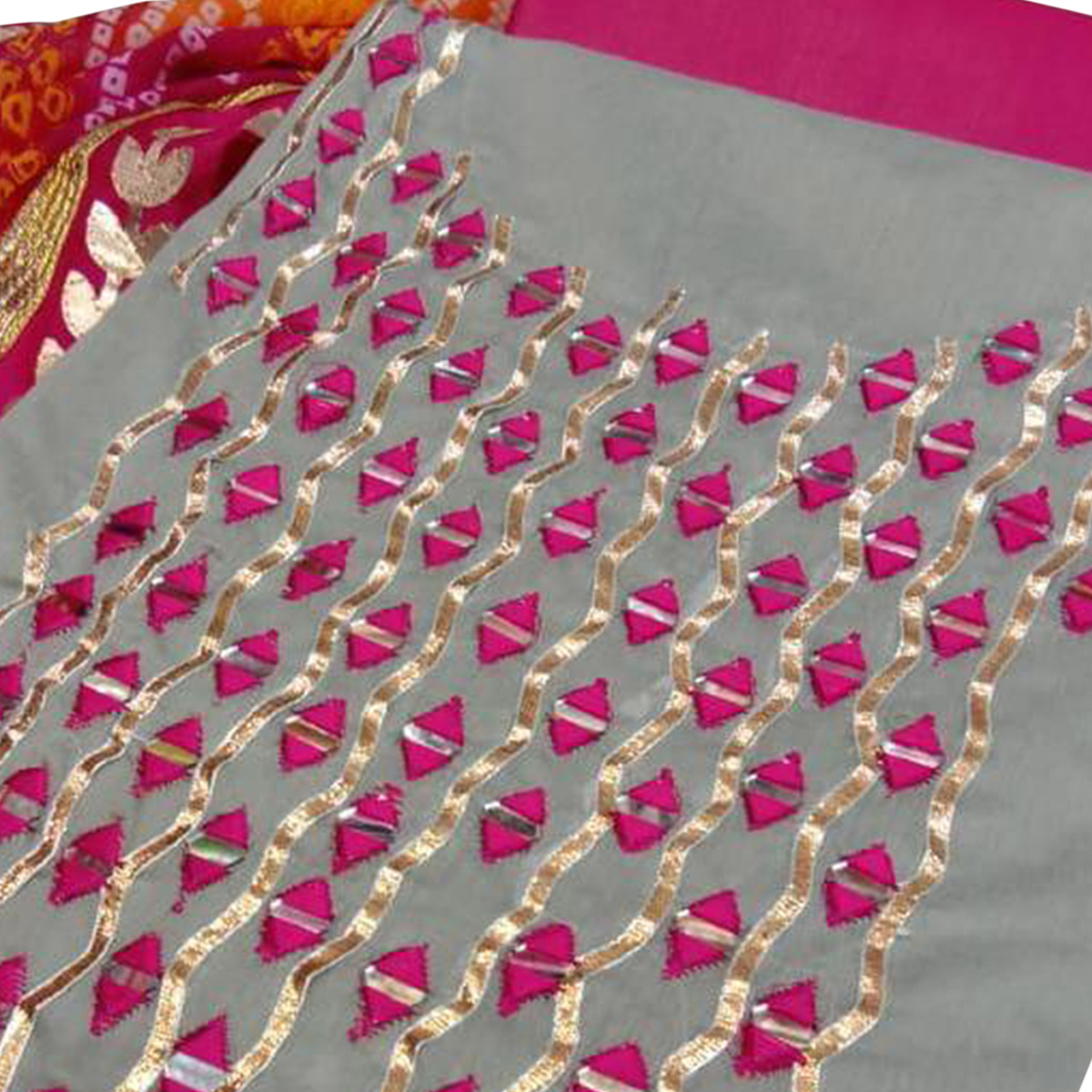 Pleasant Gray Colored Party Wear Embroidered Chanderi Silk Dress Material