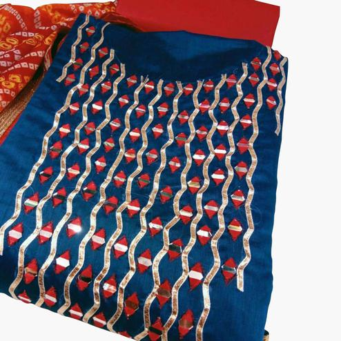 Energetic Blue Colored Party Wear Embroidered Chanderi Silk Dress Material
