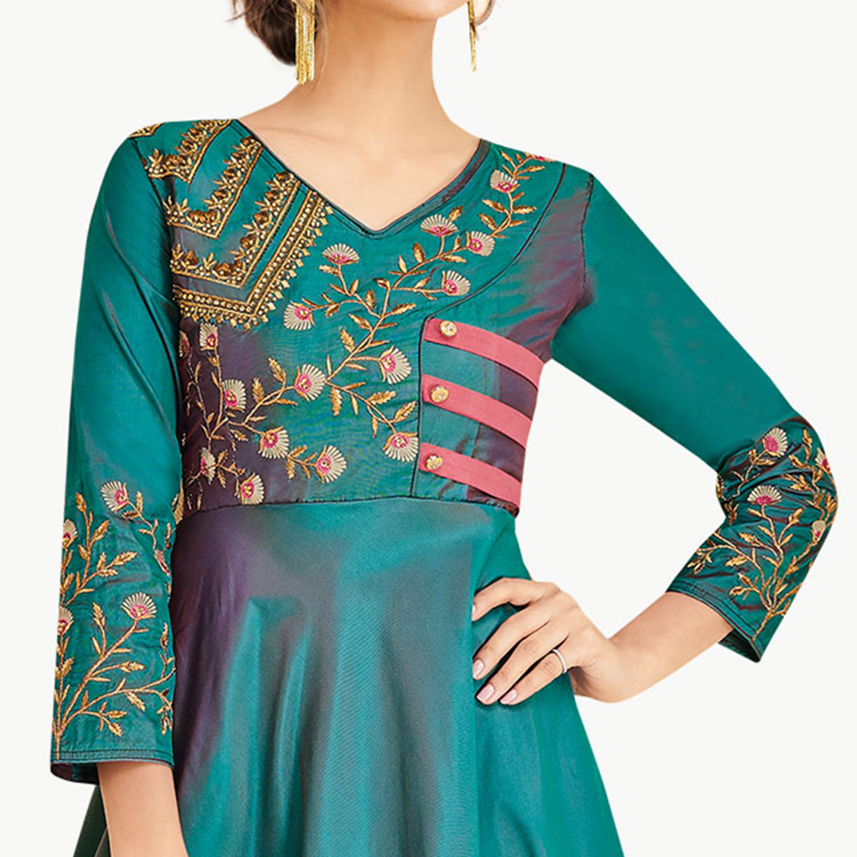 Fantastic Teal Green Colored Partywear Embroidered Silk Gown