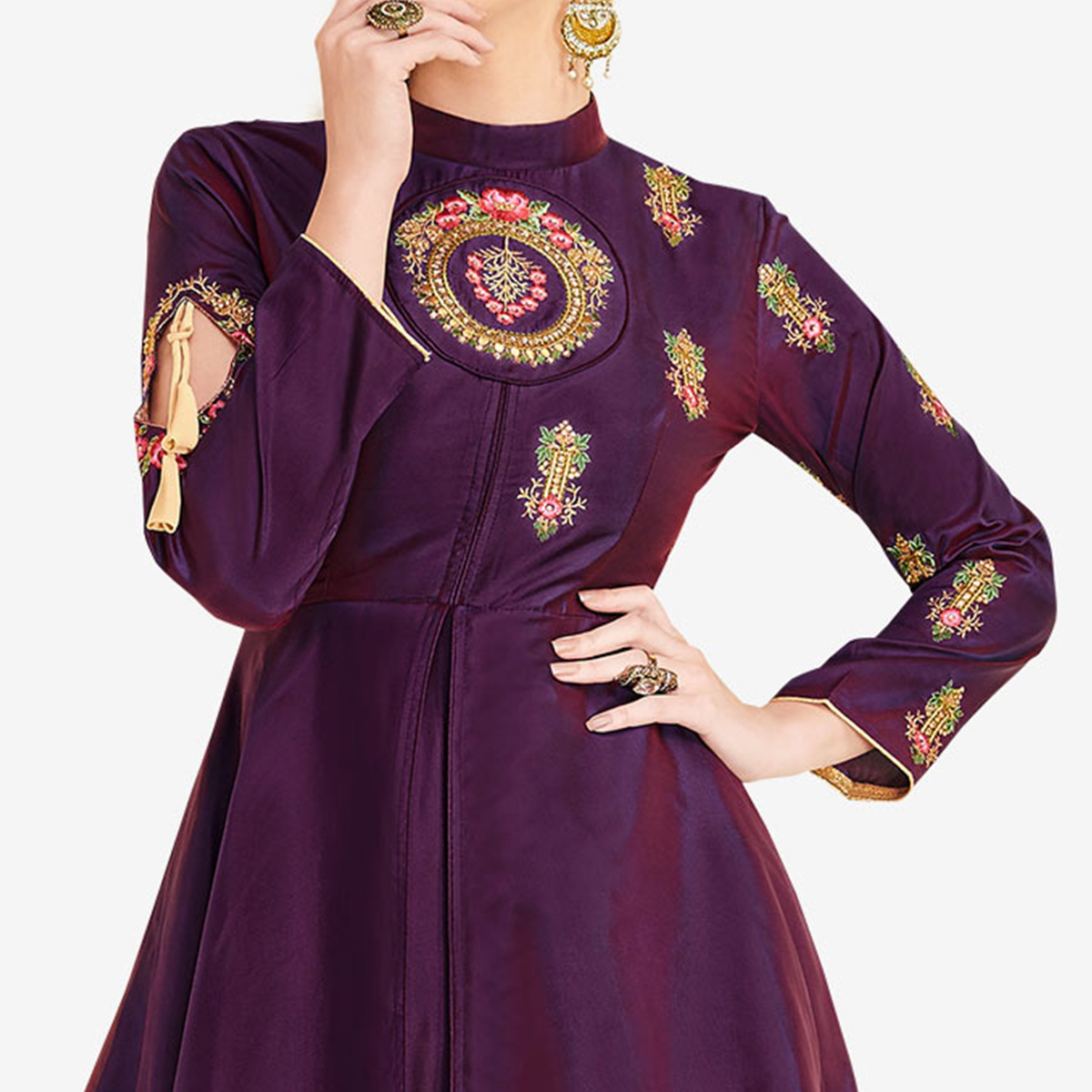 Amazing Dark Purple Colored Partywear Embroidered Satin-Silk Gown
