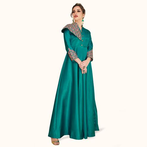 Fantastic Teal Green Colored Partywear Embroidered Satin-Silk Gown