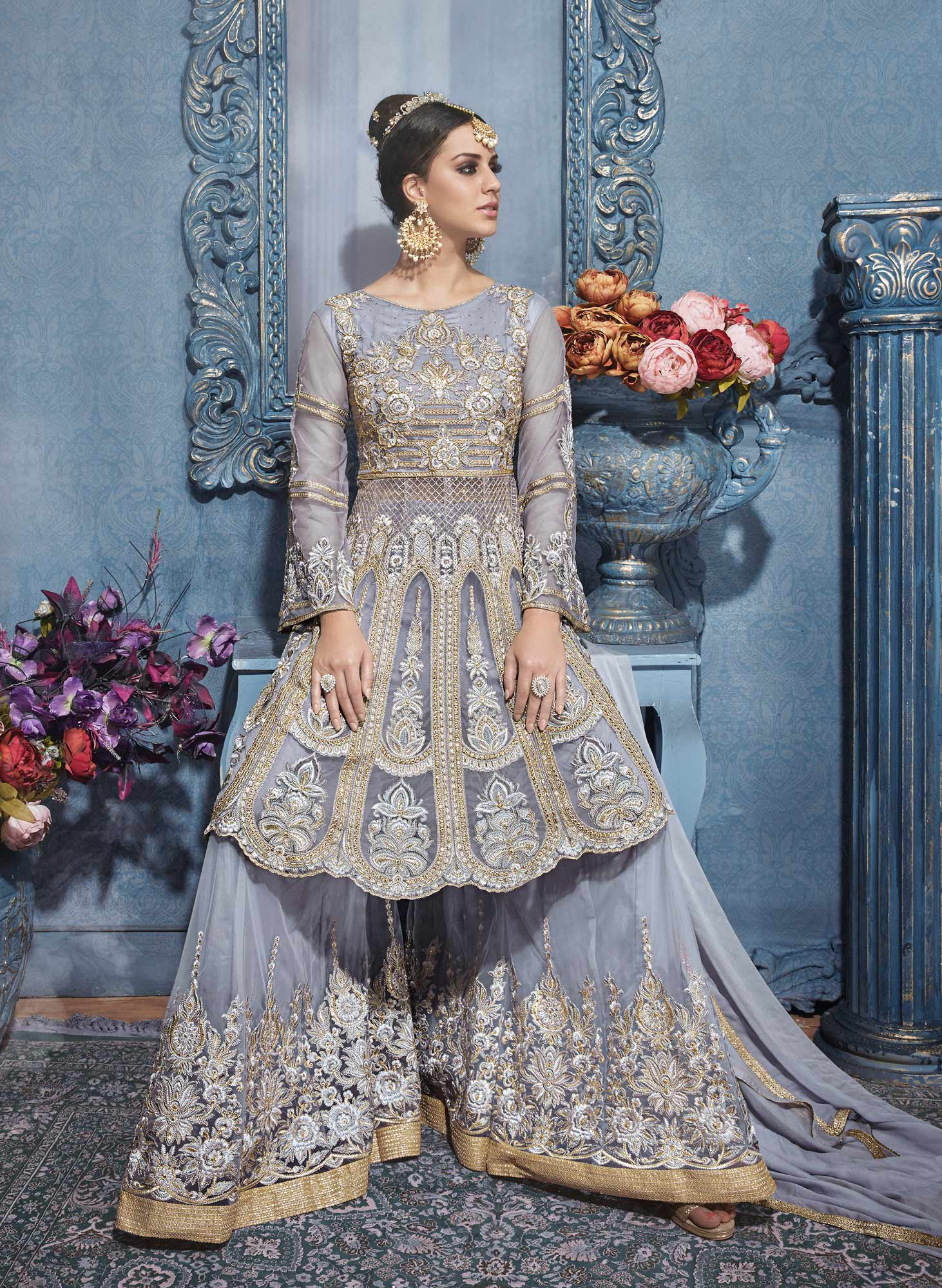 Mesmerising Gray Designer Embroidered Net Suit