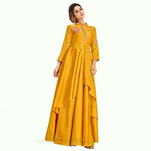 Marvellous Mustard Yellow Colored Partywear Embroidered Silk Gown