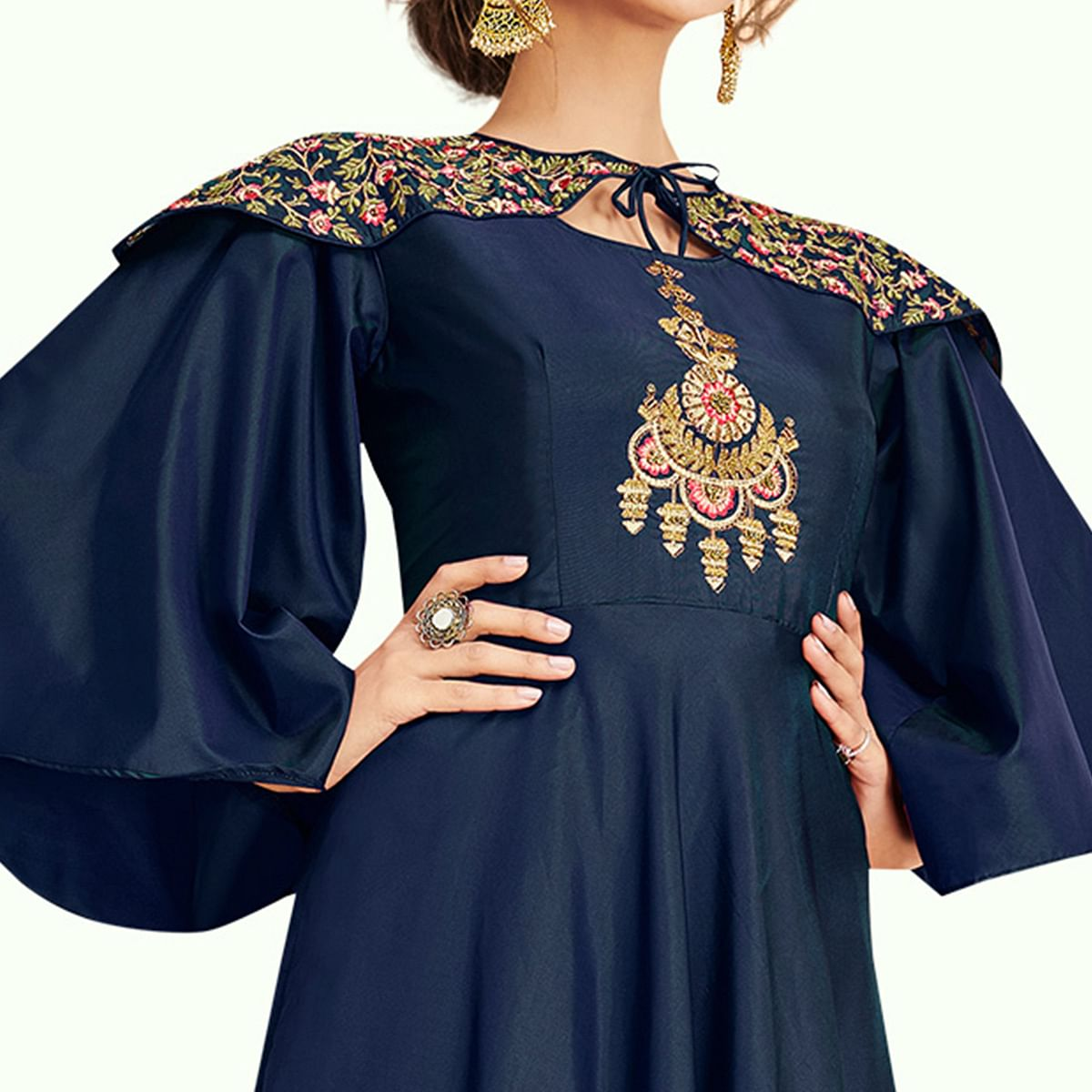 Special Navy Blue Colored Partywear Embroidered Silk Gown