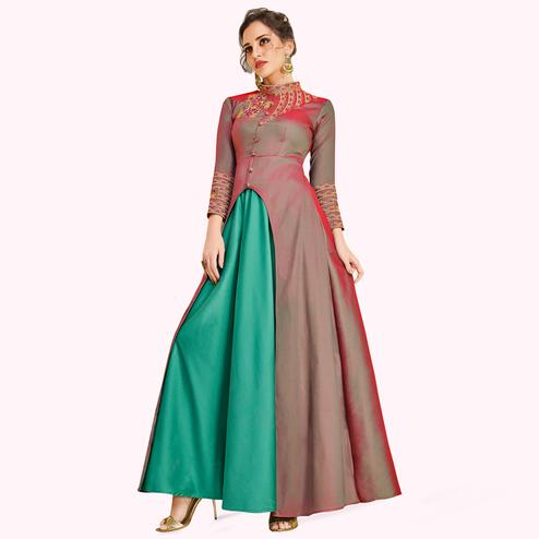 Charming Pink-Aqua Green Colored Partywear Embroidered Satin-Silk Gown