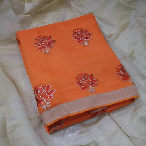 Intricate Orange Colored Partywear Embroidered Chanderi Silk Dress Material