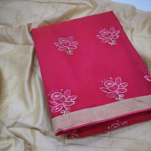 Arresting Pink Colored Partywear Embroidered Chanderi Silk Dress Material