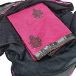 Exotic Pink Colored Partywear Embroidered Chanderi Silk Dress Material