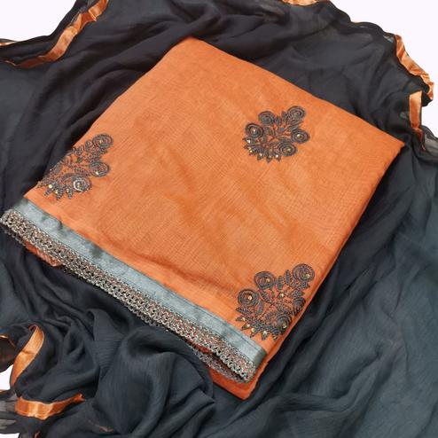 Elegant Orange Colored Partywear Embroidered Chanderi Silk Dress Material