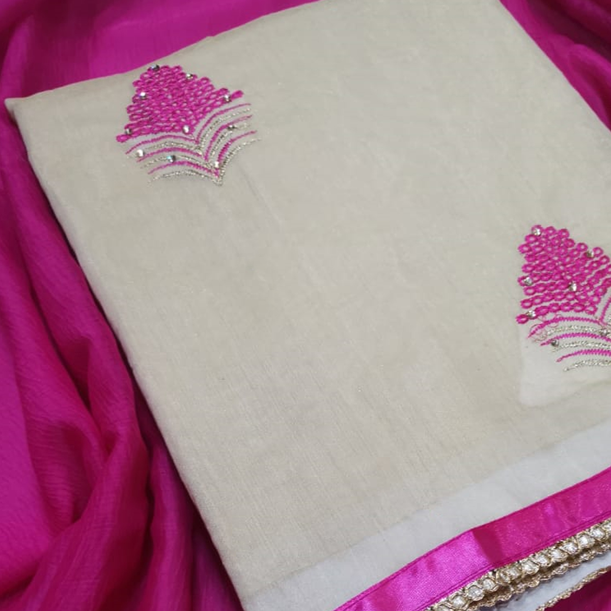Pleasant Beige-Pink Colored Partywear Embroidered Chanderi Silk Dress Material