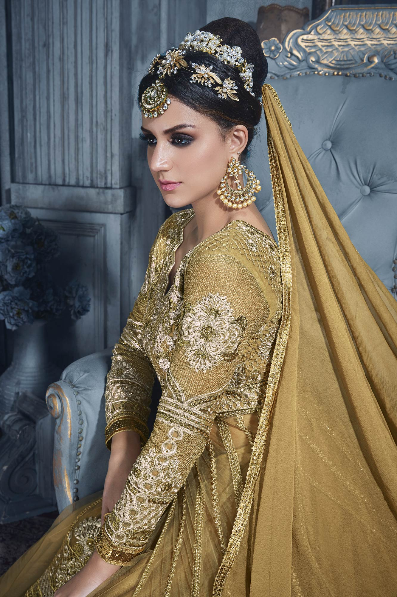 Stunning Golden Designer Embroidered Net Suit