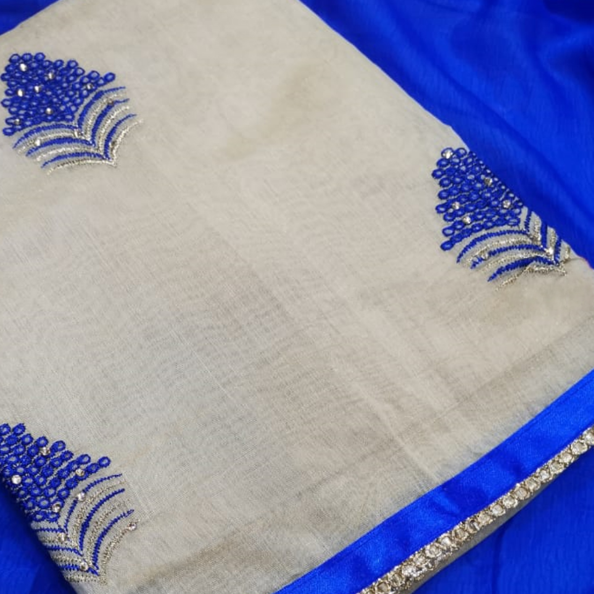 Energetic Beige-Blue Colored Partywear Embroidered Chanderi Silk Dress Material