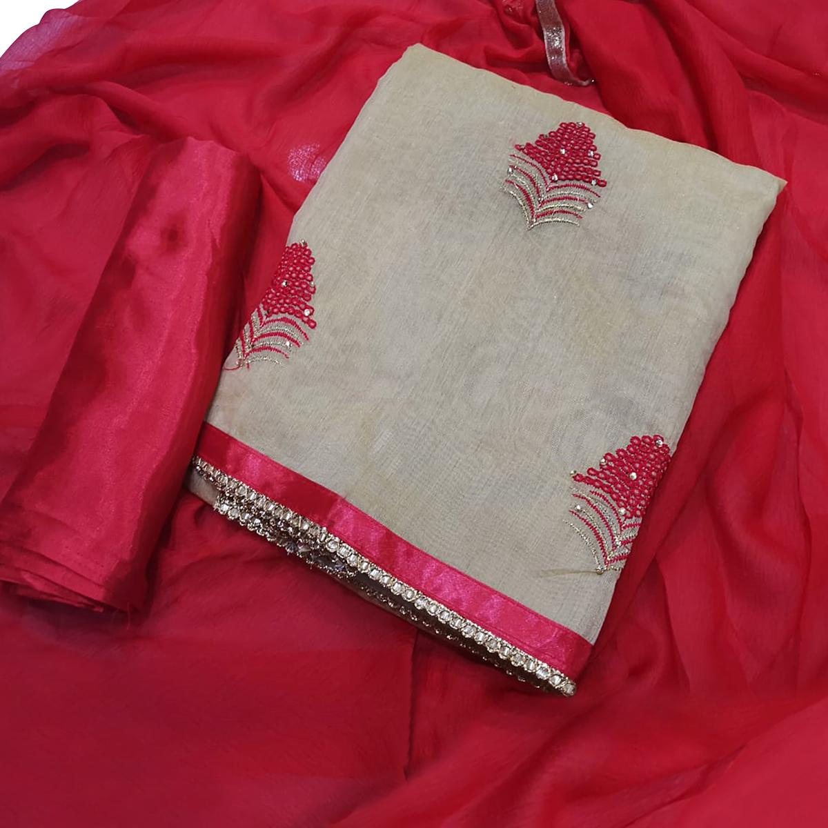 Glowing Beige-Red Colored Partywear Embroidered Chanderi Silk Dress Material