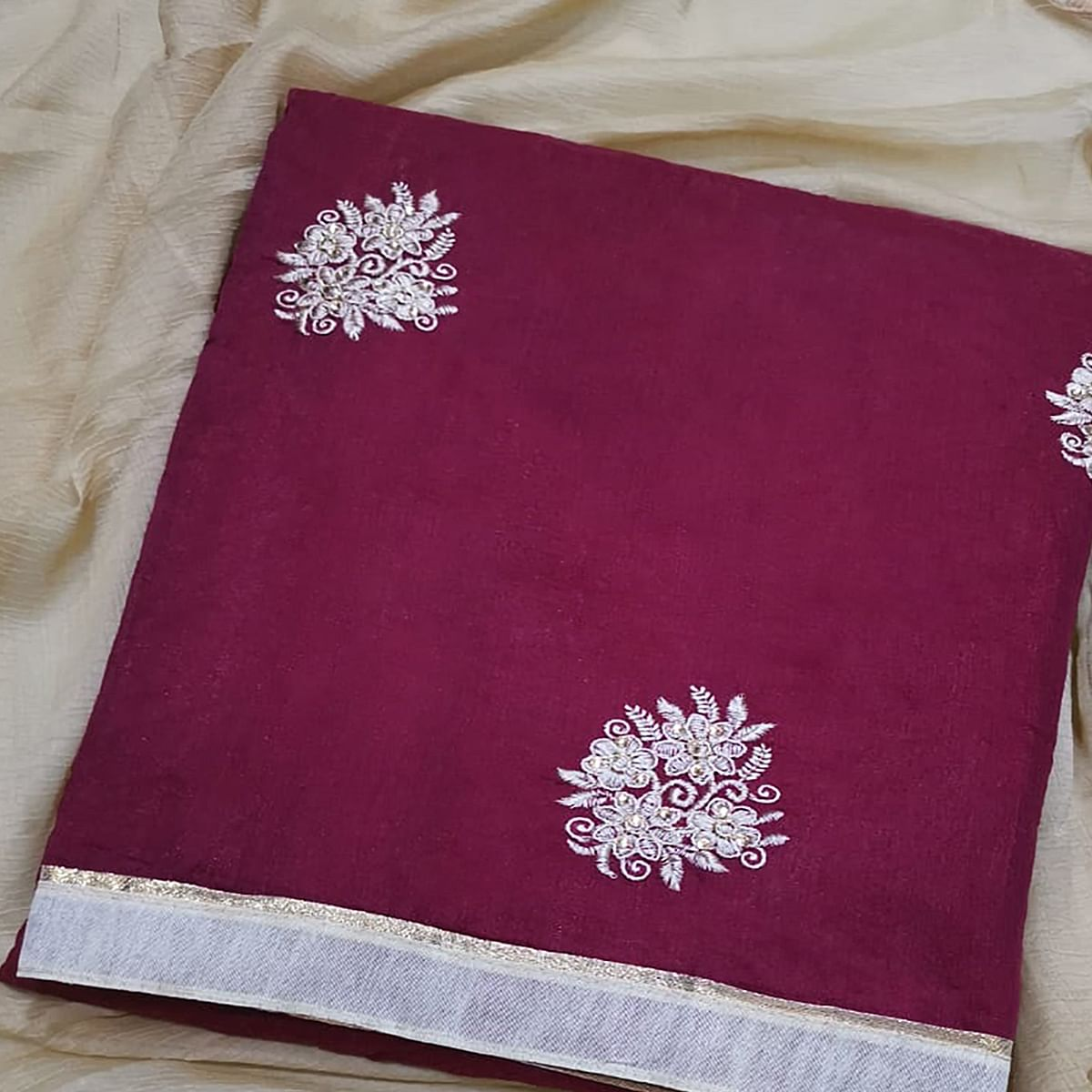 Radiant Dark Wine Colored Partywear Embroidered Chanderi Silk Dress Material