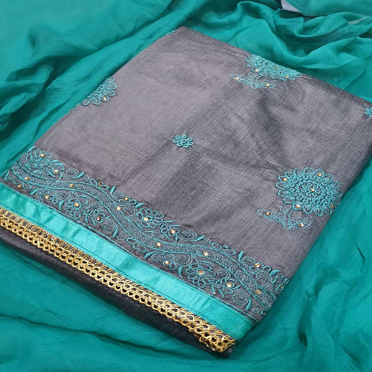 Gleaming Gray-Turquoise Blue Colored Partywear Embroidered Chanderi Silk Dress Material