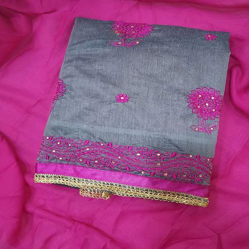 Mesmeric Gray-Pink Colored Partywear Embroidered Chanderi Silk Dress Material