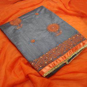 Unique Gray-Orange Colored Partywear Embroidered Chanderi Silk Dress Material