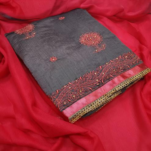 Demanding Gray-Red Colored Partywear Embroidered Chanderi Silk Dress Material