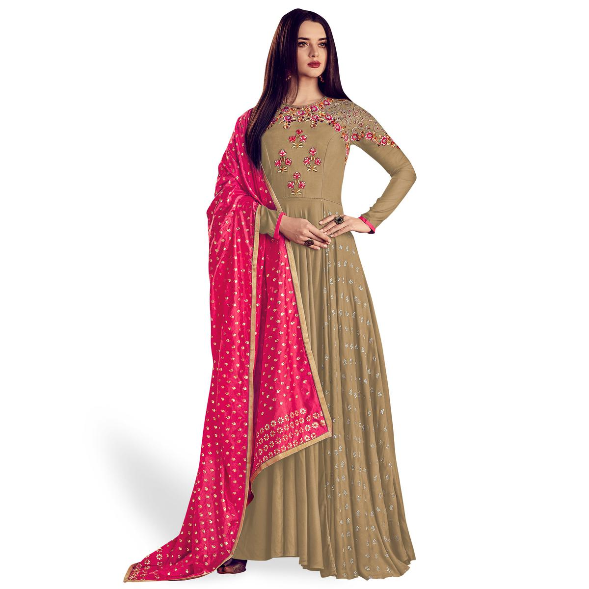 Innovative Beige Colored Party Wear Embroidered Rayon Anarkali Suit