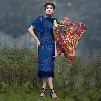Stunning Blue Designer Embroidered Georgette Pakistani Style Suit