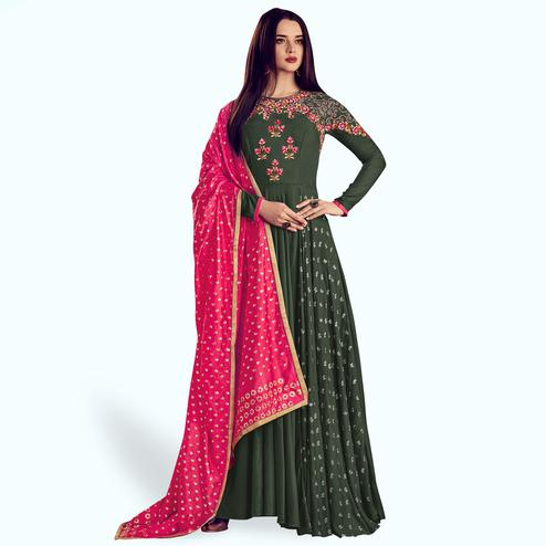 Eye-catching Green Colored Party Wear Embroidered Rayon Anarkali Suit