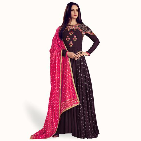Fantastic Dark Wine Colored Party Wear Embroidered Rayon Anarkali Suit