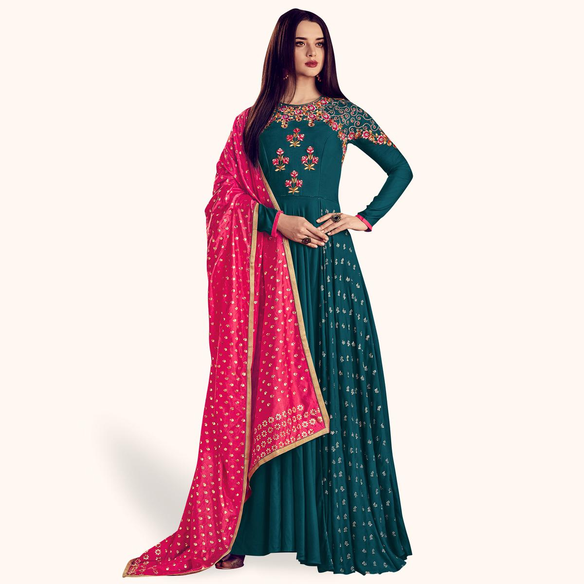 Amazing Teal Green Colored Party Wear Embroidered Rayon Anarkali Suit