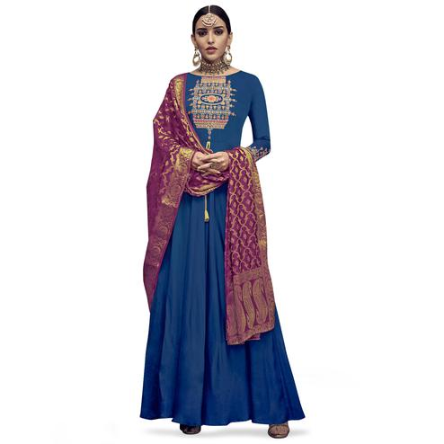 Refreshing Navy Blue Colored Party Wear Embroidered Rayon Anarkali Suit