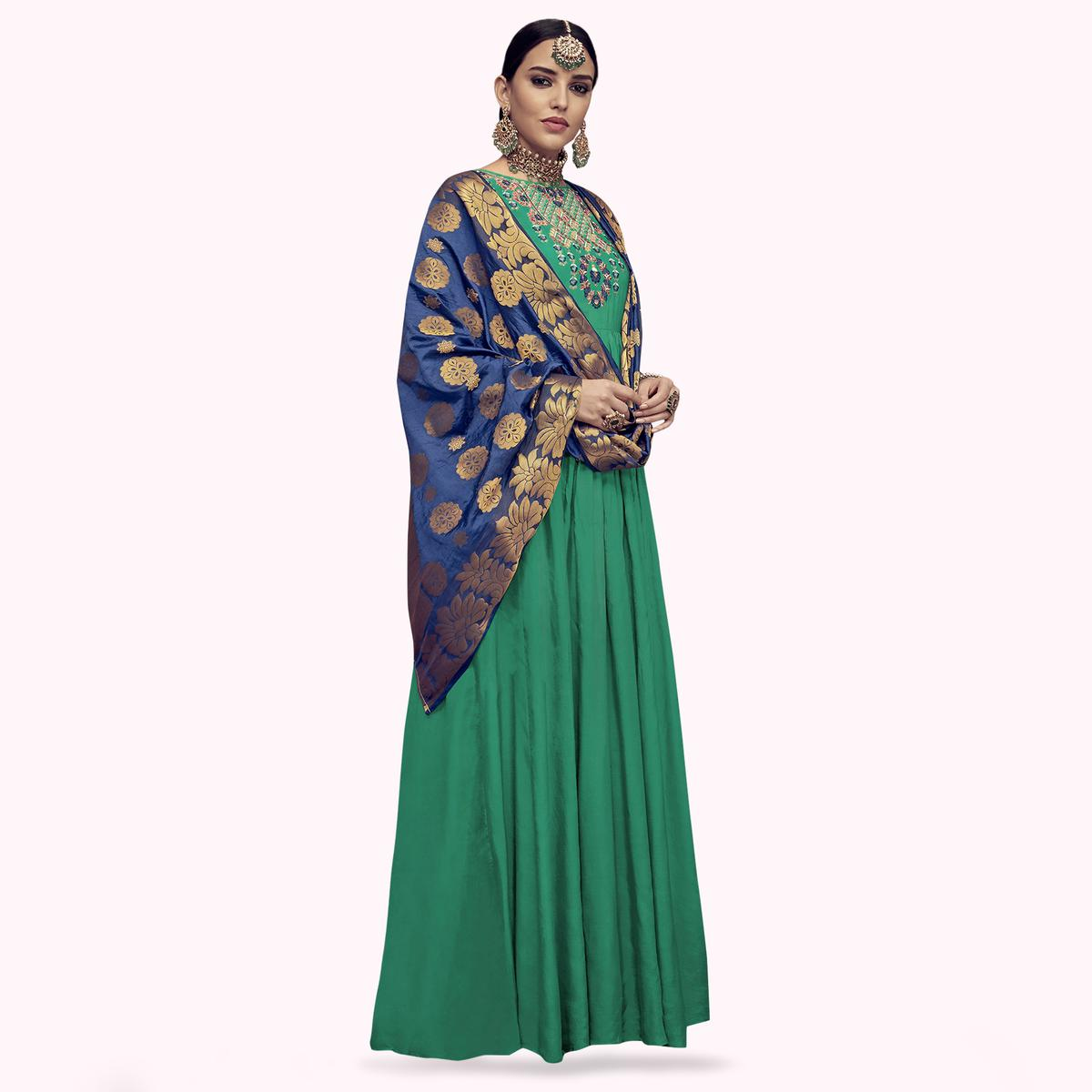 Magnetic Green Colored Party Wear Embroidered Rayon Anarkali Suit